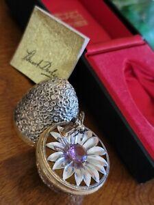 STUART DEVLIN SILVER GILT FLOWER Amethyst BEE SURPRISE EGG 70/85 1967 BOXED Rare