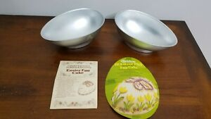 Vintage 1976 Wilton Easter Egg Aluminum Cake Mold - 2 Pans 2 Bases, #2105-700