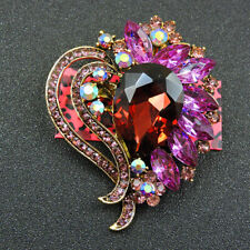 New Betsey Johnson Bling Pink Crystal Flower Charm Woman Brooch Pin Gift