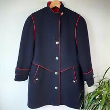 Vintage 100% Wool Navy/Red Military Coat Jacket Size 10