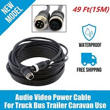 Truck Trailer 4Pin Aviation Extension Cable 49Ft(15M) For RearView Backup Camera