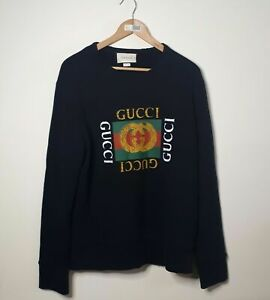 Gucci Men's Sweatshirt Classic Logo Jumper Black Size S with Receipt