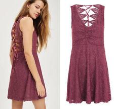 BNWT Topshop Lace Dress Size 12 Corset Back Tie Up Aline Skater Party Petite New