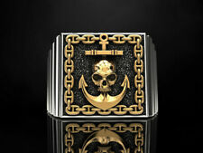 Gothic Men's Skull & Anchor Ring 925 Sterling Silver With 24k Gold Plated Parts