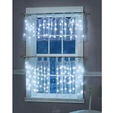Set Hammacher Illuminated Sheer Cafe Curtain White Lights Panels LED Christmas
