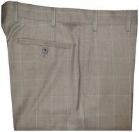 $425 NWT ZANELLA DEVON KHAKI TAUPE WINDOWPANE SUPER 130'S WOOL PANTS 36