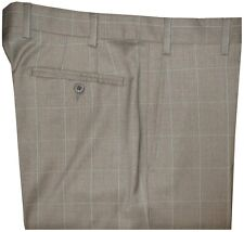 $425 NEW ZANELLA DEVON KHAKI TAUPE WINDOWPANE SUPER 130'S WOOL PANTS 40