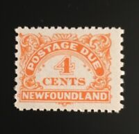 Stamps Newfoundland J4 4c yellow orange unwatermarked Postage Due of 1949