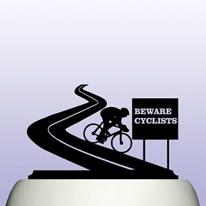 Acrylic Bicycle and Cycling Road Warning Sign Cake Topper Decoration