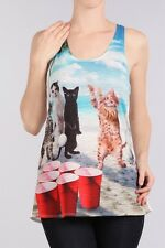 Cat shirt Beer Pong Cats printed Graphic Womens singlet Size S