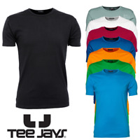 TEE JAYS MEN'S T-SHIRT PLAIN TOP SHAPED FIT SLIM GYM 100% SOFT COTTON COLOURS