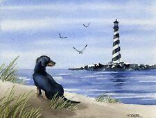 Dachshund Black and Tan Watercolor 8 x 10 Dog Art Print by Dj Rogers