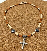Southwestern Cross Necklace w Shell and Heart Hematite Beads