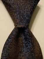 GIANFRANCO FERRE Men's 100% Silk Necktie ITALY Designer Geometric Brown/Blue EUC