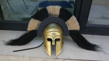 BRASS ANTIQUE GREEK CORINTHIAN ARMOR HELMET W/BLACK & WHITE PLUME REPLICA ARMOR