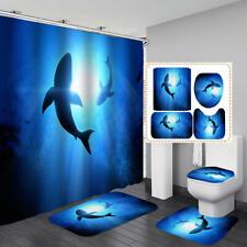 Undersea Shark Blue Shower Curtain Bath Mat Toilet Cover Rug Bathroom Decor