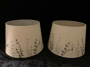 "2 Allen + Roth 7x10"" Off-White with Silver Screen Print Fabric Drum Lamp Shades"