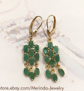 14k Solid Yellow Gold Leverback Dangle Earrings, Natural Emerald 4.43 Grams