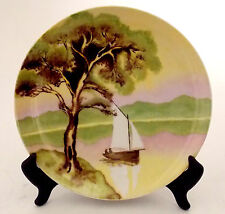 PORCELAIN DECORATOR PLATE HAND PAINTING OF SAILBOAT & TREE 1926 BY ARTIST DAGMAR