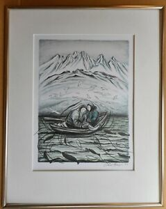 Inuit couple fishing. Lithograph by listed Greenlandic artist Aka Høegh, 1993