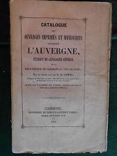 Benoît GONOD, Catalogue des ouvrages sur l'AUVERGNE - Clermont-Ferrand (1849).