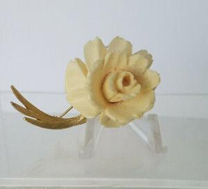 "Vintage Signed LEDO Large Carved Bovine Bone Single Rose Gold Tone Pin 2.5"""