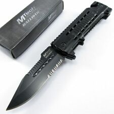 Spring-Assist Folding Pocket Knife Mtech Serrated Black Blade Rescue Tactical