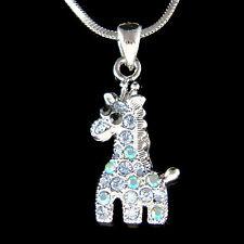 Blue w Swarovski Crystal Cute Giraffe Safari Animal Girls Pendant Chain Necklace