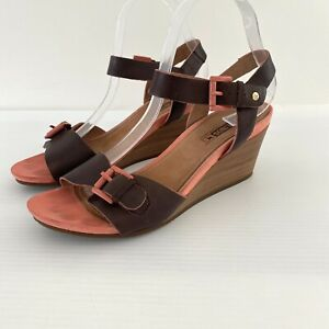Pikolinos Leather Wedge Sandals Sz 40 Tan Coral Pink Buckle Ankle Strap Peep Toe