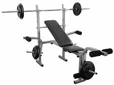 Weight Bench + Barbell Set 30kg Complete Multi Home gym Training Set