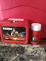 Vintage 1985 Rambo Red Plastic Lunchbox With Thermos Sylvester Stallone