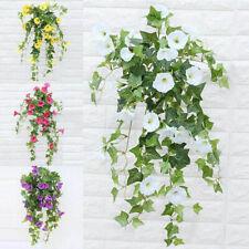 Hanging Basket Artificial Fake Silk  Morning Glory Flower Vine DIY Garden Decor