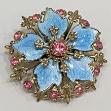 """Blue Enamel & Pink Rhinestone Flower Pin Brooch, Unmarked 1.25"""" Diameter, Used"""