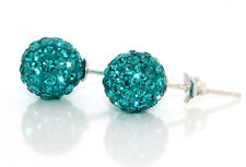 Dark Aqua Green Colour Genuine Solid Sterling Silver Crystal Ball Stud Earrings
