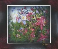 ARTISAN WILD FLOWERS COLUMBINE FLOWER SIGNED ARTIST PRINT W/ ORIGINAL PASTEL ART