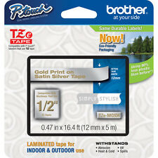 "Brother TZeMQ934 12mm 1/2"" gold on satin silver TZ tape PT D200 D400 2730 2730VP"