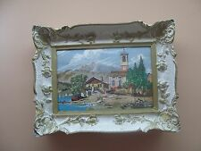"Vintage Micro Petite Point Tapestry Needlepoint Framed 10"" x 16"" - 18"" x 23"""