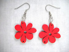 NEW FUN NATURE GIRL RED CUT OUT DAISY FLOWERS WOODEN DANGLING FLOWER EARRINGS