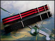 20mm Black-Red NATO g10 nylon watch band 2 pak RAF Bond strap IW SUISSE 18 22 24