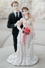 Vintage Bride and Groom Cake Topper w/ Rose Bouquet Halter Wedding Dress