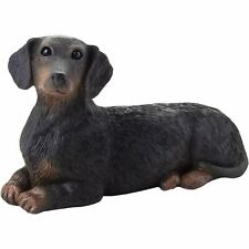 "Sandicast ""Small Size"" Lying Black Dachshund Dog Sculpture"