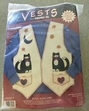Applique Vests From Dimensions Black Cat 62091 New In Package For All Bust Sizes