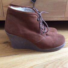 SCHUH Women's Dark Tan Brown Suede Lace Up Ankle Boots Size 40/6.5