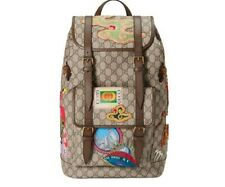 Gucci Courrier Soft Backpack GG Supreme Embroidered Patches Beige/Ebony/Multicol