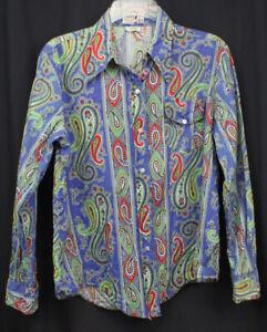Vtg Take 1 Shirt Top Blouse Button Up Paisley Urban Retro Long Sleeve 60s 70s 40