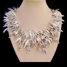 Statement Halskette Kette Collier Choker Blätter silber elegant edel Glamour neu