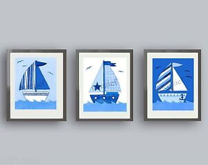 Nautical Sailboat Wall Art for Boy or Baby—Compliments Bedroom or Bathroom Decor