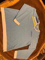 Vintage Adidas Blue Crewneck Sweater Size Xl 1990s light blue yellow white