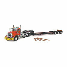 Peterbilt 367 Tri Axle Lowboy Trailer Orange And Black 1/50 First Gear 50-3356