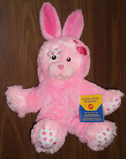 Build a Bear Precious Heart Patchwork Puppy Dog with Pink Bunny Costume Outfit